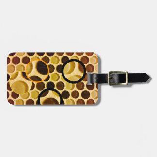 Retro copper brown glass bubbles luggage tag