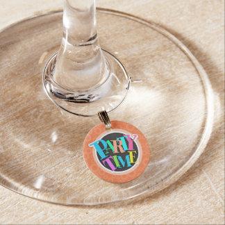 Retro Coral Orange Circles Pattern Wine Glass Charms