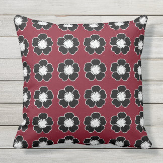 Retro-Cottage-Flowers-Red-Black-Pillow-Set's Outdoor Cushion