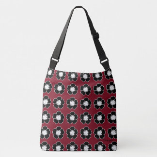 Retro-Cottage-Flowers-Red-Black-Shoulder-Bags-Tote Crossbody Bag
