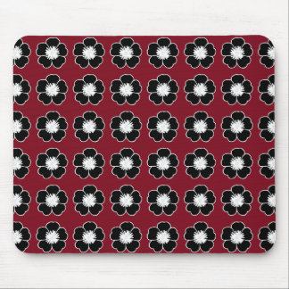 Retro-Cottage-Red-Black-Flowers-Mod-Unisex Mouse Pad