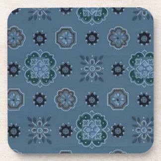 Retro Country Flowers Blue Cork Coaster