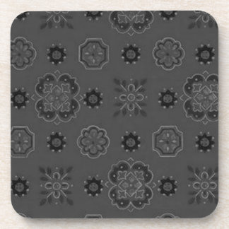 Retro Country Flowers Charcoal Black Cork Coaster