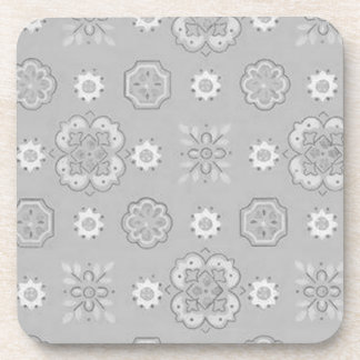 Retro Country Flowers Charcoal Gray Cork Coaster