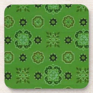 Retro Country Flowers Green Cork Coaster