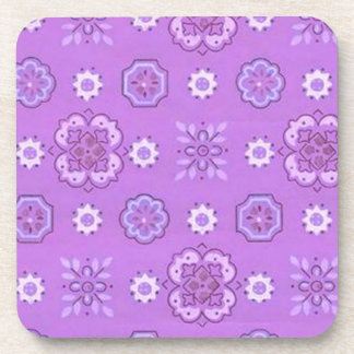 Retro Country Flowers Lavender Cork Coaster