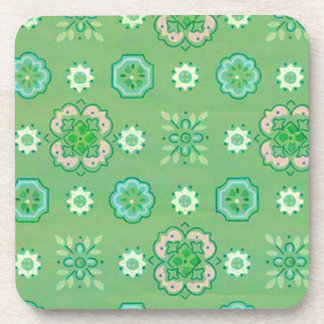 Retro Country Flowers Mint Green Cork Coaster