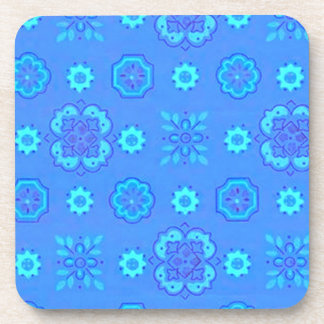 Retro Country Flowers Neon Blue Cork Coaster
