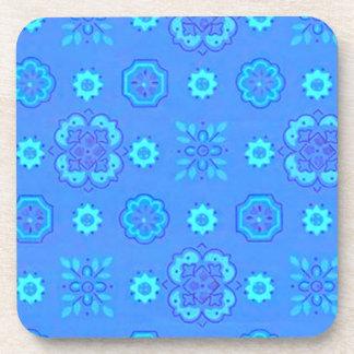 Retro Country Flowers Neon Blue Cork Coaster