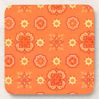 Retro Country Flowers Orange Cork Coaster