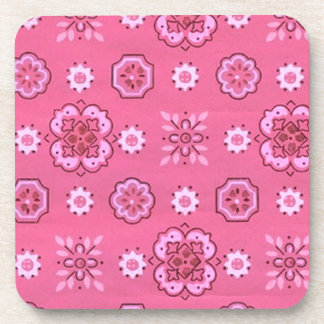 Retro Country Flowers Pink Cork Coaster