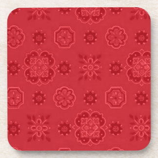 Retro Country Flowers Red Cork Coaster
