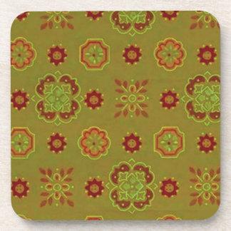 Retro Country Flowers Tangerine Sage Cork Coaster