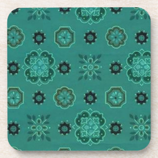 Retro Country Flowers Teal Cork Coaster