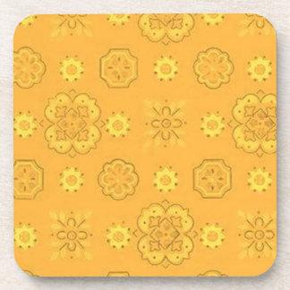Retro Country Flowers Yellow Cork Coaster