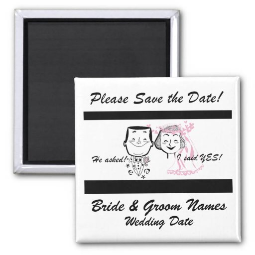 Retro Couple Save the Date Magnet