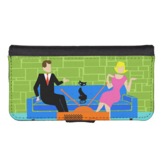 Retro Couple with Cat Smartphone Wallet Case