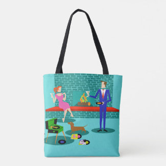 Retro Couple with Dog All-Over Print Tote Bag