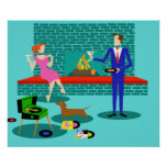 Retro Couple with Dog Poster