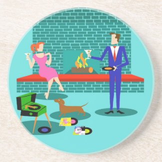 Retro Couple with Dog Sandstone Coaster