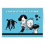 Retro Couple & Zombie Valentine's Day Card