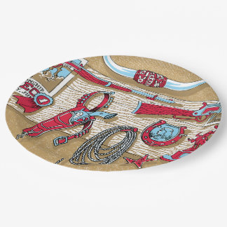 Retro Cowboy Items Hanging on Wall Paper Plate