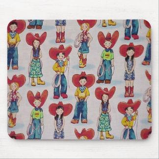 Retro Cowboys & Cowgirls Western Kids Mousepad