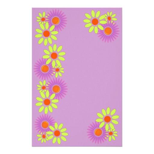 Retro Crazy Daisy Flora Flower Personal Stationery