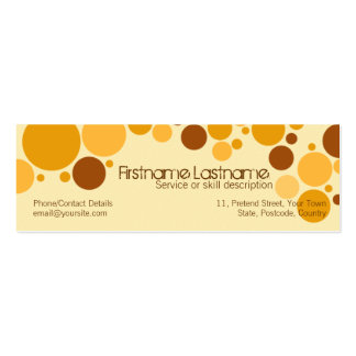 Retro Cream Bubbles MiniBusiness Card Pack Of Skinny Business Cards