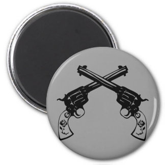 Retro Crossed Pistols 6 Cm Round Magnet