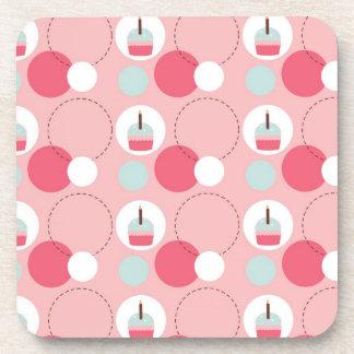 Retro Cupcake Birthday Pattern Beverage Coasters