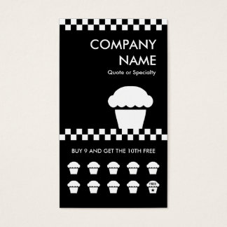 retro cupcake checkers punchcard business card