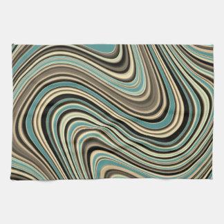 Retro Curvy Abstract Shapes Tea Towel