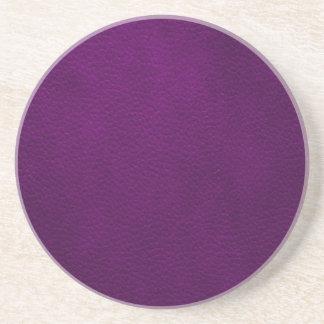 Retro Custom Purple Leather Beverage Coaster