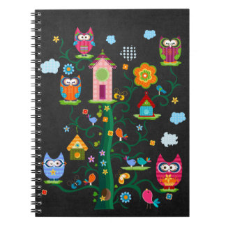 Retro Custom Trendy Colorful Owl Notebook