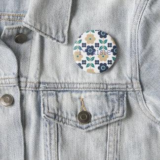 Retro Customisable Blue/Beige Flowers Badge