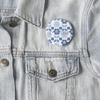 Retro Customisable Blue Flowers Badge