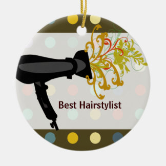 Retro Cute Colorful Salon Hair Stylist Ceramic Ornament