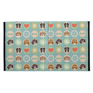 Retro Cute Dog Pattern iPad Folio Case