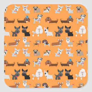 Retro Cute Dog Pattern Square Sticker
