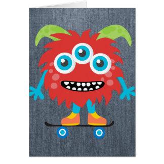 Retro Cute Monster Note Card