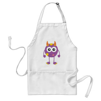 Retro Cute Purple Monster Aprons