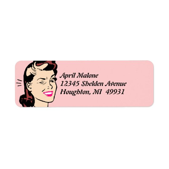 Retro Cute Wink Winking Lady Winks Labelling Return Address Label