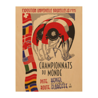 Retro cycling world championships 1935 Brussels Wood Print