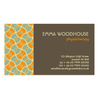 Retro!Dahlia Brown, Orange and Aqua Business Card Template