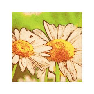 Retro Daisies Canvas Print