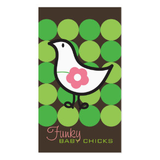 Retro Daisy Baby Chick Bird Whimsical Cute Dots Business Card Template