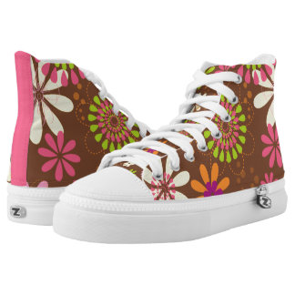 Retro Daisy Brown Zipz High Top Shoes Printed Shoes