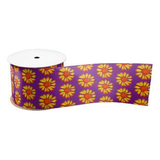 Retro Daisy Yellow On Purple Craft Ribbon Satin Ribbon
