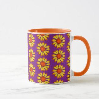 Retro Daisy Yellow On Purple Mug